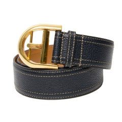 Delvaux Dark Blue Leather Belt