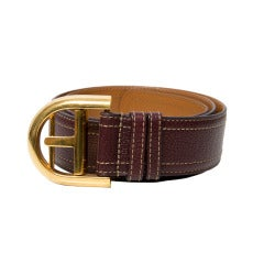 Delvaux Red/Brown Leather Belt