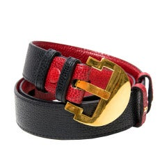 Delvaux Red and Black Leather Belt