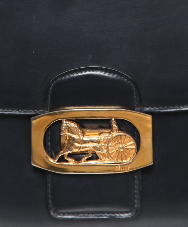celine handbags yellow - Celine horse carriage clapse shoulder bag at 1stdibs