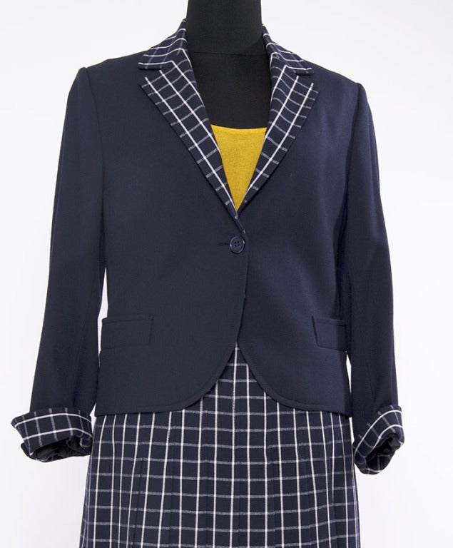 skirt suit with knee length pleated skirt at 1stdibs