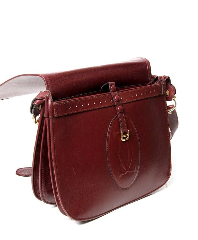 cartier vintage leather saddle bag satchel shoulder bag at
