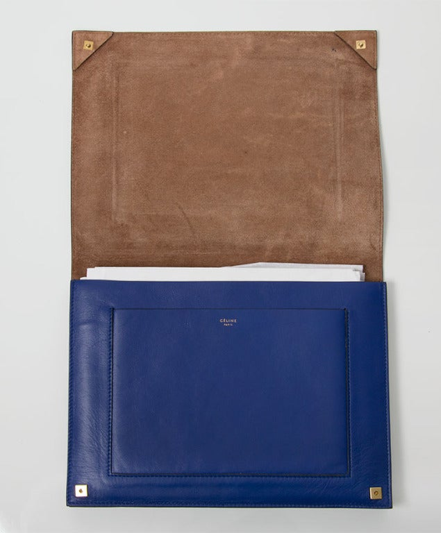 Celine lambskin blue Clutch / iPad Organizer at 1stdibs