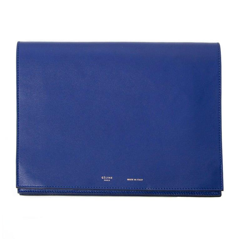 Celine lambskin blue Clutch / iPad Organizer at 1stdibs