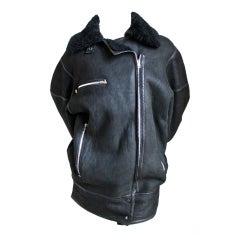 AZZEDINE ALAIA oversized black shearling coat