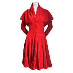 AZZEDINE ALAIA red chenille dress with shawl collar