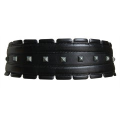 AZZEDINE ALAIA black leather belt with silver studs