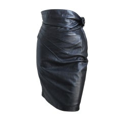 1980's AZZEDINE ALAIA black leather skit with side buckle