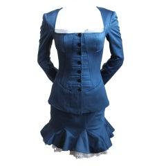 AZZEDINE ALAIA black navy corset suit with eyelet trim and bra