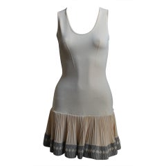 AZZEDINE ALAIA cream mini dress with ruffled hemline