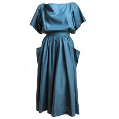 1980's AZZEDINE ALAIA turquoise linen dress with cut out back