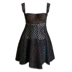AZZEDINE ALAIA suede laser cut dress with colored fringe