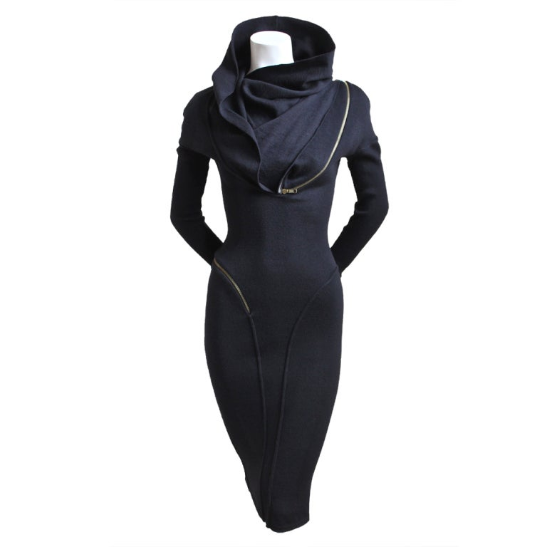 Azzedine Alaia Black Hooded Dress With Spiral Zipper At