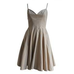 AZZEDINE ALAIA tan cotton seamed dress with full skirt