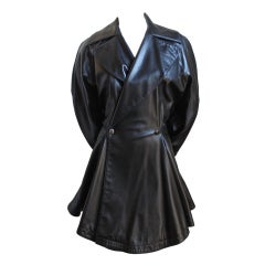 AZZEDINE ALAIA black leather jacket with full skirt