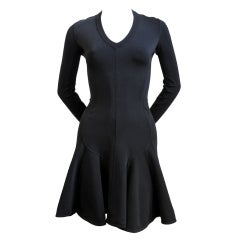 AZZEDINE ALAIA black flared v-neck long sleeved mini dress