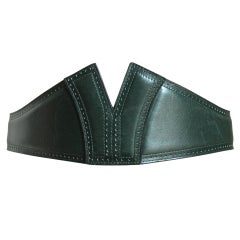 AZZEDINE ALAIA forest green leather belt