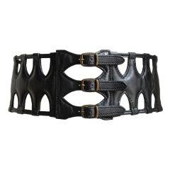 AZZEDINE ALAIA black leather caged corset belt