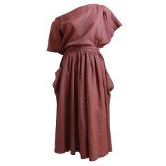 AZZEDINE ALAIA terra cotta backless linen dress