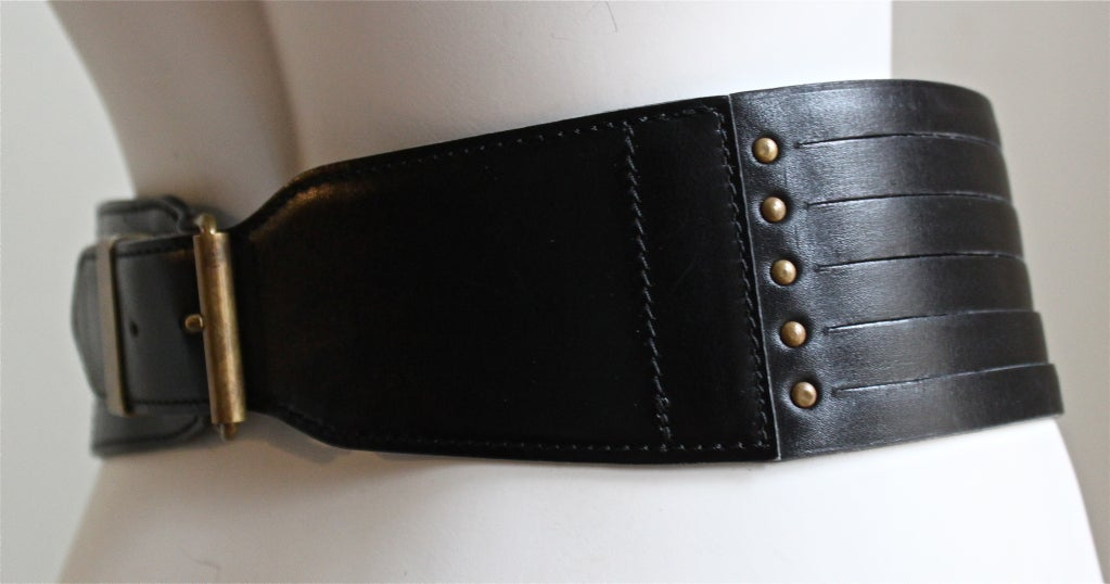 azzedine alaia black leather lace up corset belt at 1stdibs