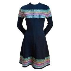 AZZEDINE ALAIA black knit dress with woven trim