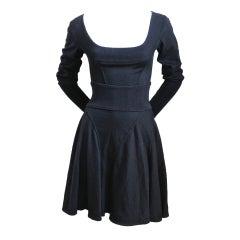 Azzedine Alaia black seamed scoop neck dress