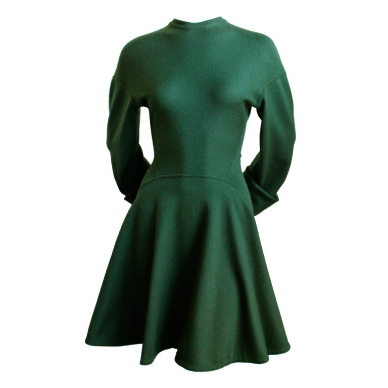 azzedine alaia green skater dress with full seeves at 1stdibs