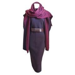 AZZEDINE ALAIA aubergine ensemble with hooded scarf