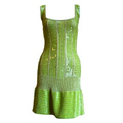 AZZEDINE ALAIA chartreuse green beaded and sequined dress