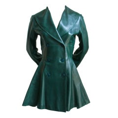AZZEDINE ALAIA emerald green leather coat with peplum