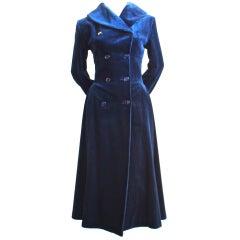 AZZEDINE ALAIA mightnight blue wide-wale velvet coat