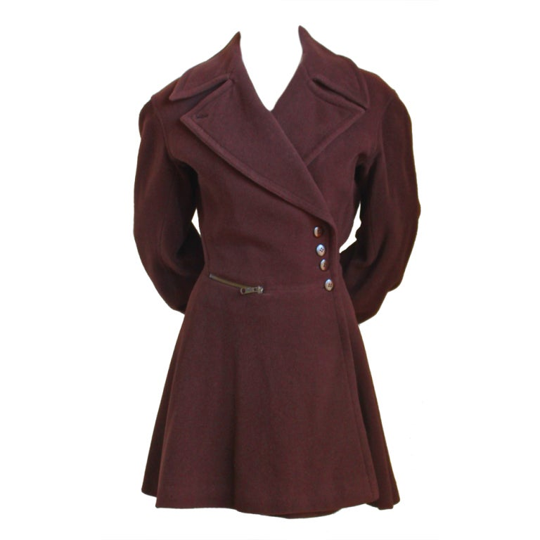 Azzedine Alaia Brown Wool Coat With Corset Back At 1stdibs