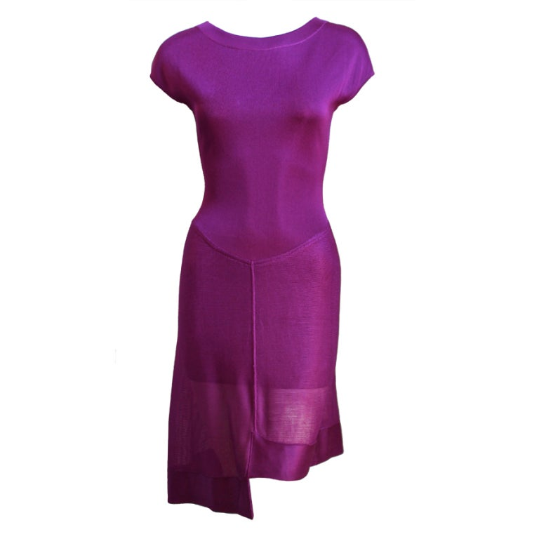 AZZEDINE ALAIA magenta dress with sheer asymmetrical hemline