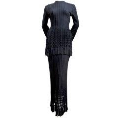 AZZEDINE ALAIA fringed tunic and full length skirt
