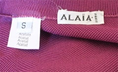 AZZEDINE ALAIA magenta dress with sheer asymmetrical hemline thumbnail 4