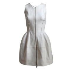 AZZEDINE ALAIA off-white tulip dress with zipper front