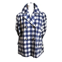 AZZEDINE ALAIA navy blue checked 'Tati' coat with star buttons