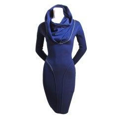 AZZEDINE ALAIA navy blue hooded dress with spiral zipper