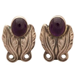 Georg Jensen Amethyst Cabochon Sterling Silver Earrings No. 108