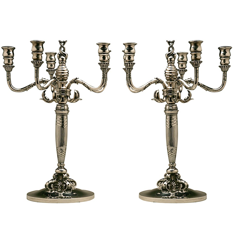 georg jensen monumental dolphin candelabra no 224 at. Black Bedroom Furniture Sets. Home Design Ideas