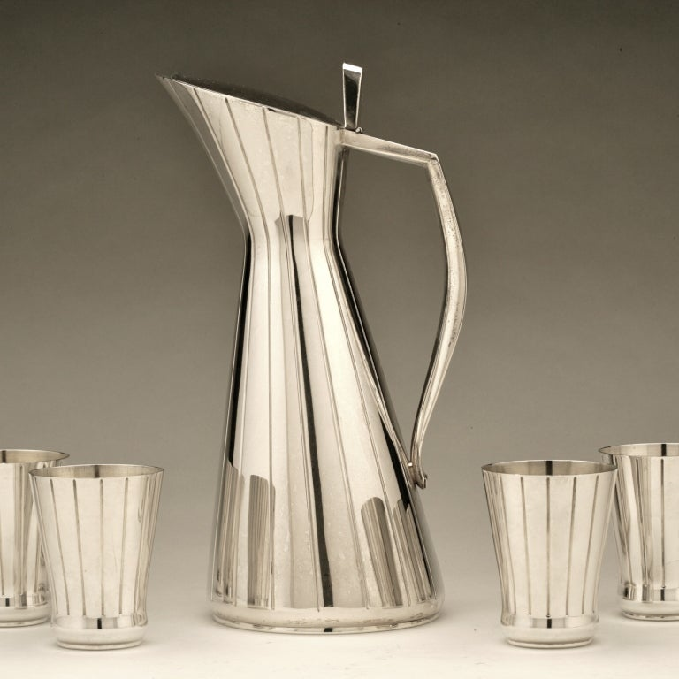 Striking Mid-Century Modern cocktail set in 935 silver. Unknown maker.