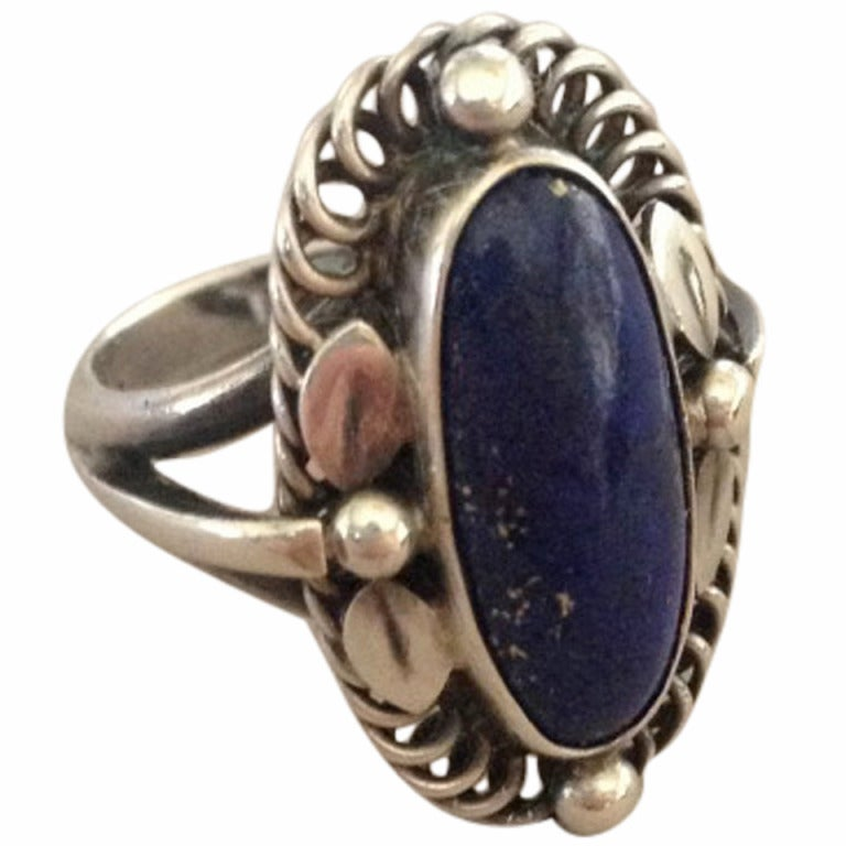 Georg jensen ring with lapis lazuli no 1 at 1stdibs for Georg jensen wedding rings