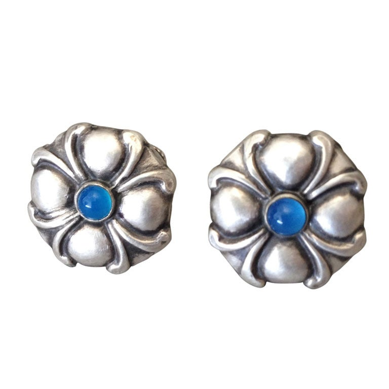 georg jensen earrings with blue stones no 47 at 1stdibs. Black Bedroom Furniture Sets. Home Design Ideas