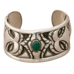 Georg Jensen 826 Silver One of a Kind Cuff Bracelet with Chrysoprase