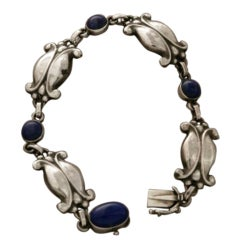 Georg Jensen Sterling Silver Bracelet With Lapis Lazuli No. 11