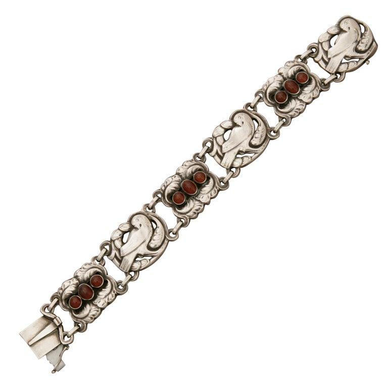 Georg Jensen Sterling Silver Bird Bracelet with Carnelian No. 14