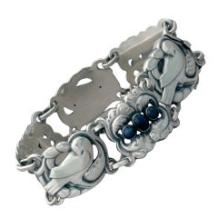 Georg Jensen Sterling Silver Dove Bracelet with Labradorite No. 14