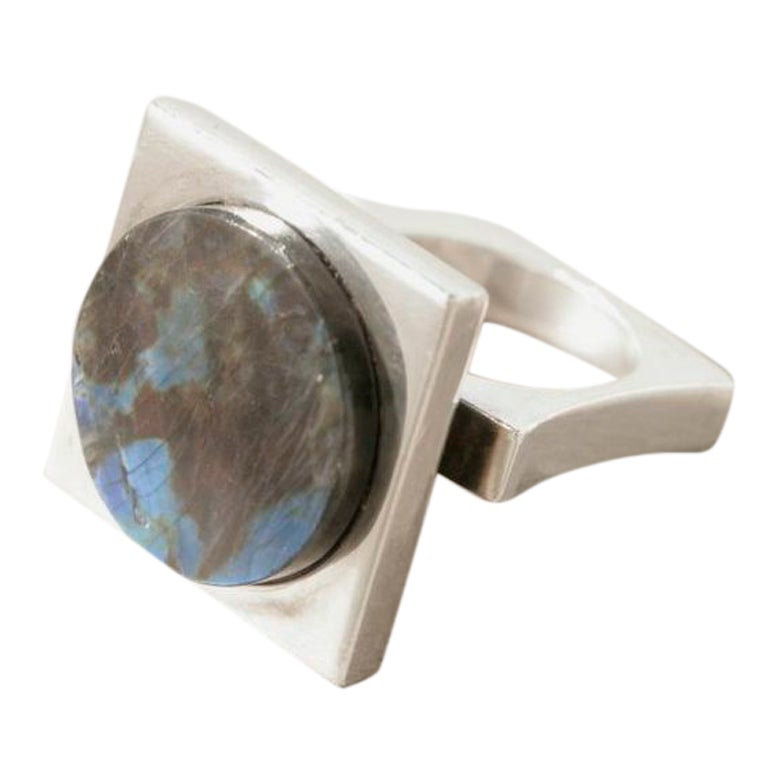Georg Jensen Sterling Silver Ring With Labradorite by Bent Gabrielsen No. 171