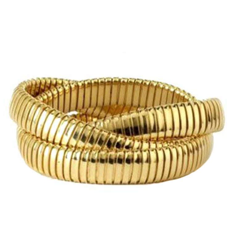 Yellow gold triple strand tubogas flex bracelet at 1stdibs for Triple j fine jewelry