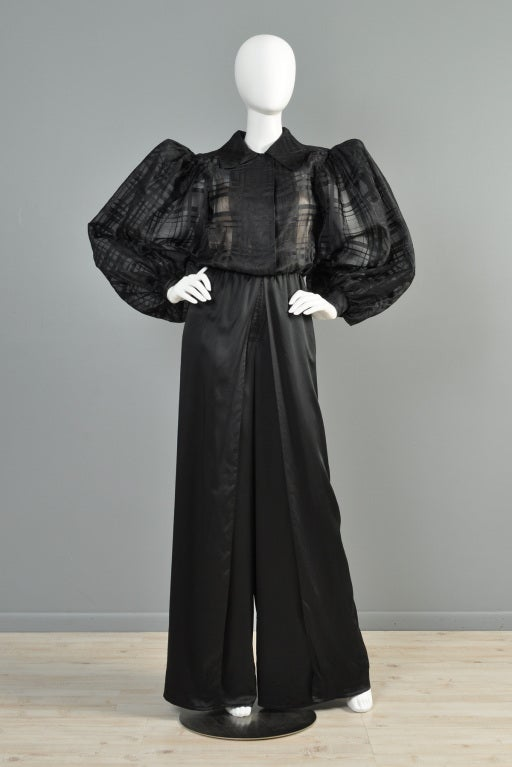 yves saint laurent haute couture palazzo jumpsuit at 1stdibs. Black Bedroom Furniture Sets. Home Design Ideas